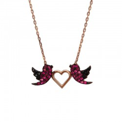 Renkli Taşlı Kuşlar Ve Kalpli Gümüş Kolye