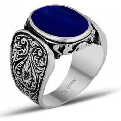 Kenarları İşlemeli Mavi Renkli Erkek Gümüş Yüzük