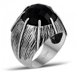 Özel Tasarım Siyah Taşlı Erkek Gümüş Yüzük