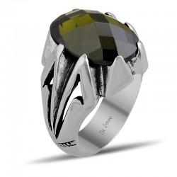 Özel Tasarım Yeşil Zirkon Taşlı Erkek Gümüş Yüzük