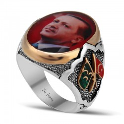 Polyesterli Özel Recep Tayip Erdoğan  Erkek Gümüş Yüzük