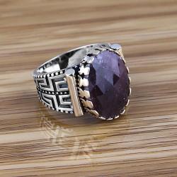Özel Tasarım Safir Taşlı Erkek Yüzüğü