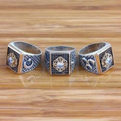 Özel Tasarım Siyah Zirkon Taşlı Tuğralı Ğümüş Erkek Yüzüğü
