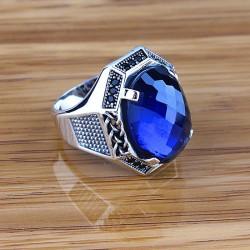 Mavi Zirkon Taşlı Erkek Yüzüğü