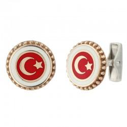 Kol Düğmesi Türk Bayrağı Desenli