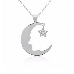 Ay Yıldız Atatürk Silüeti Gümüş Kolye